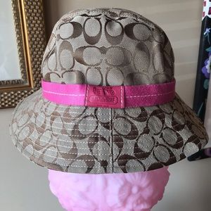 New Authentic Coach bucket tan and pink hat